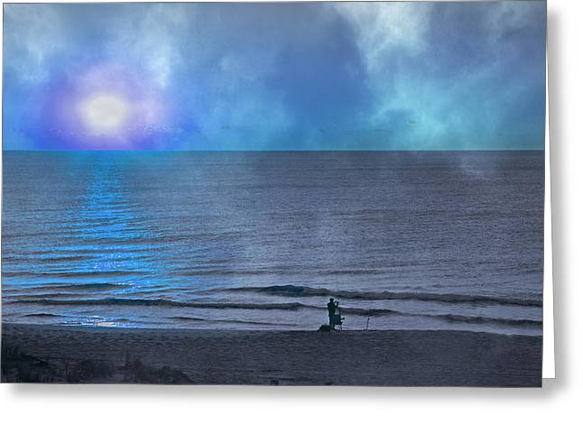 Moon Beach Greeting Cards - The Fishermans Moon  Greeting Card by Betsy C  Knapp