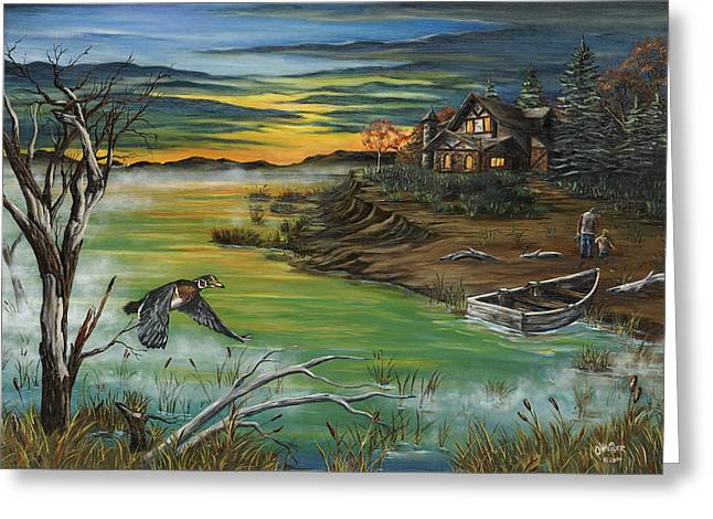 Recently Sold -  - Kinkade Greeting Cards - The Fishermans Protege Greeting Card by Jim Olheiser