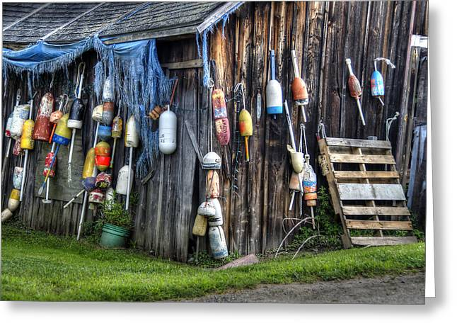 Old Maine Barns Greeting Cards - The Fishermans Shack Greeting Card by Donna Doherty