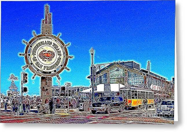 Fishermens Wharf Greeting Cards - The Fishermans Wharf San Francisco California 7D14232 Artwork Greeting Card by Wingsdomain Art and Photography