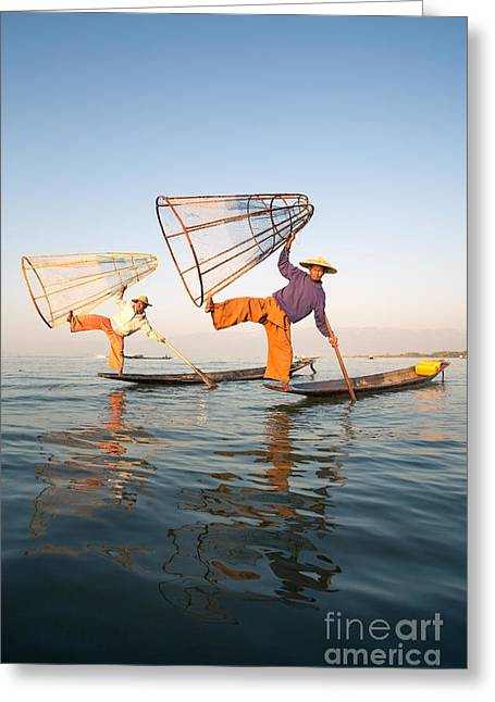 Two Fishing Men Greeting Cards - The fishermen - Inle Lake - Myanmar Greeting Card by Matteo Colombo