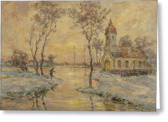 Chapel Paintings Greeting Cards - The Fishermens Chapel Under Snow Greeting Card by Henri Duhem