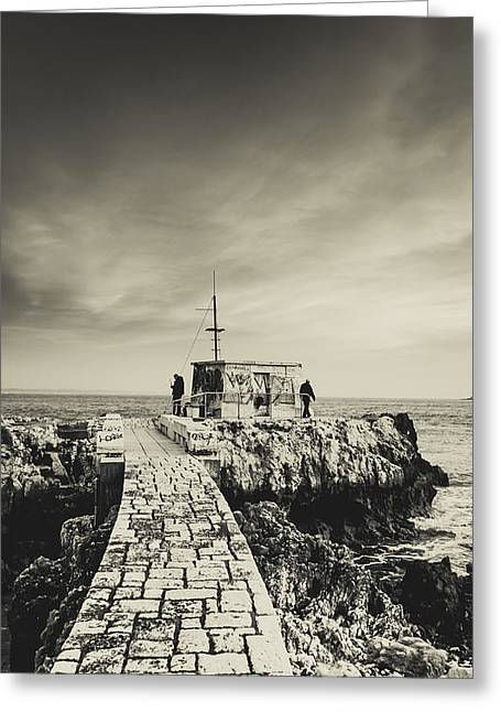 Sea Platform Greeting Cards - The Fishermens Hut Greeting Card by Marco Oliveira