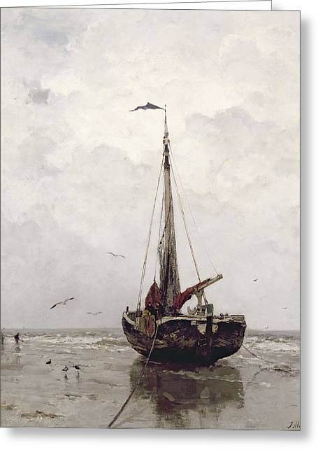 Grey Clouds Greeting Cards - The Fishing Boat Greeting Card by Jacob H Maris