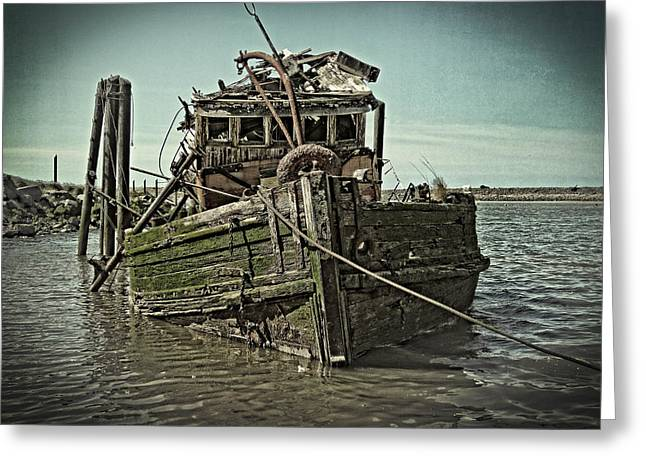 Recently Sold -  - Fishing Boats Greeting Cards - The Fishing Boat Wreak Greeting Card by Thom Zehrfeld