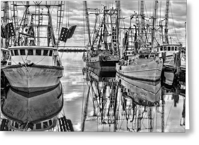 Pensacola Greeting Cards - The Fishing Fleet BW Greeting Card by JC Findley