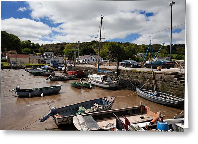 Fishing Boats Greeting Cards - The Fishing Harbour At Cheekpoint Greeting Card by Panoramic Images