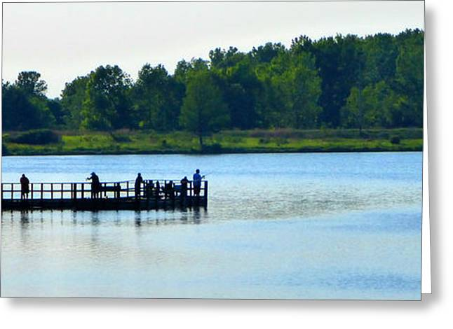 Not In Use Greeting Cards - The Fishing Pier East Greeting Card by Tina M Wenger