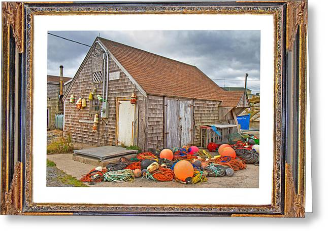 The Fishing Village Scene Greeting Card by Betsy A  Cutler