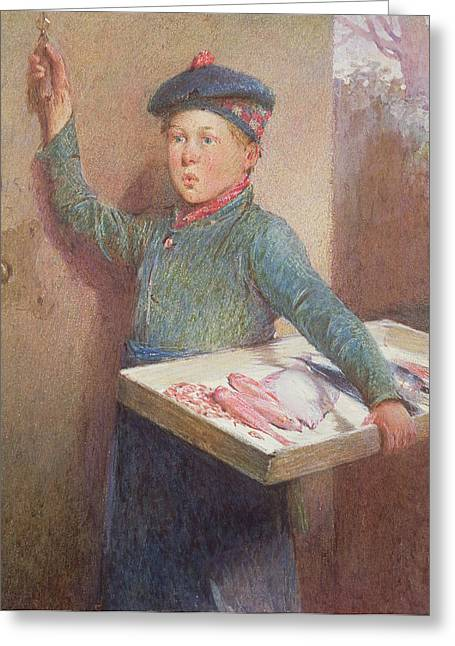 Delivering Greeting Cards - The Fishmongers Call Greeting Card by Henry Benjamin Roberts