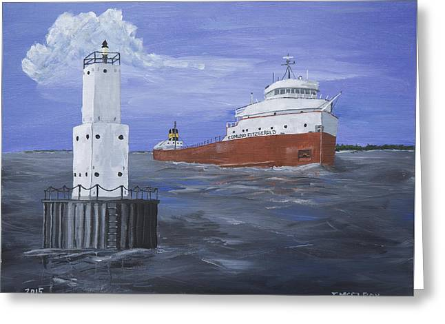 The Fitz Departs Escanaba Greeting Card by Jerry McElroy