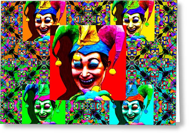 Jester Greeting Cards - The Five Jesters 20130129 Greeting Card by Wingsdomain Art and Photography