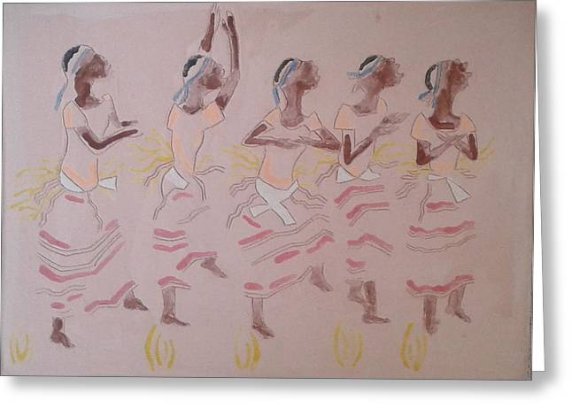 Catholic Art Ceramics Greeting Cards - The Five Wise Virgins Greeting Card by Gloria Ssali
