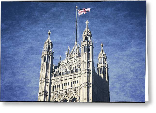 Historic England Greeting Cards - The Flag Flies Greeting Card by Joan Carroll