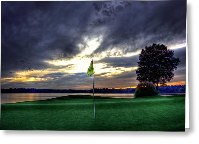 Golf Pictures Greeting Cards - The Flag Greeting Card by Reid Callaway