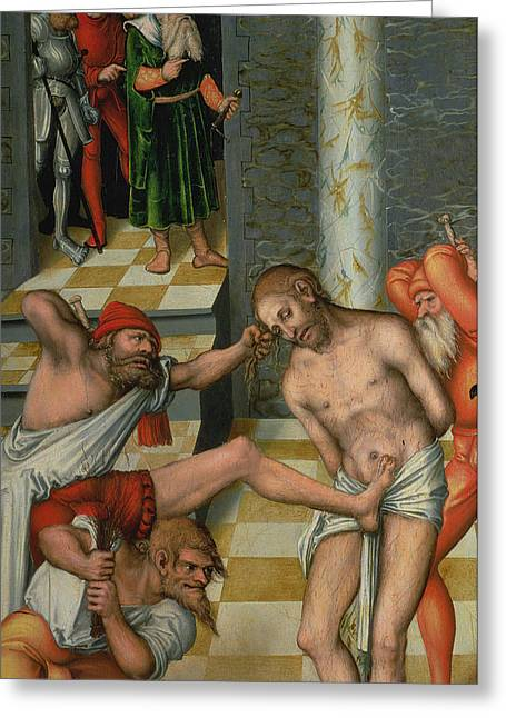 Bible Paintings Greeting Cards - The Flagellation of Christ Greeting Card by Lucas Cranach
