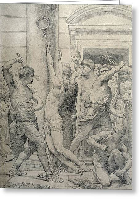 Christian Pastels Greeting Cards - The Flagellation of Christ Greeting Card by William Adolphe Bouguereau