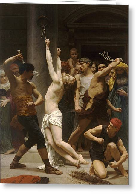 Religious Art Greeting Cards - The Flagellation of Our Lord Jesus Christ Greeting Card by William Bouguereau