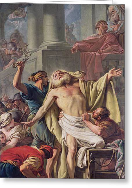 Executioner Greeting Cards - The Flagellation Of St. Andrew, 1761 Oil On Canvas Greeting Card by Jean Baptiste Deshays de Colleville