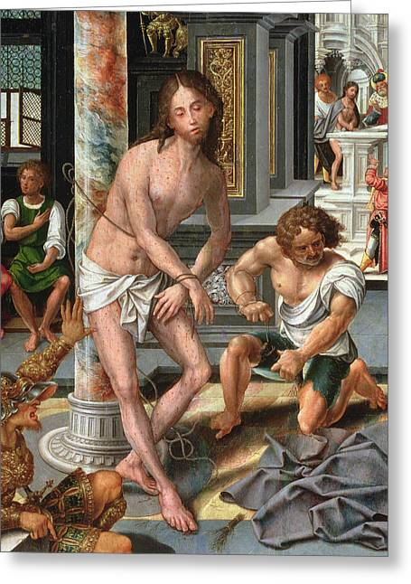 Prisoner Paintings Greeting Cards - The Flagellation Greeting Card by Pieter van Aelst