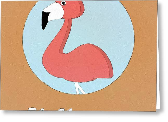 Suburban Posters Greeting Cards - The Flamingo Cute Portrait Greeting Card by Florian Rodarte