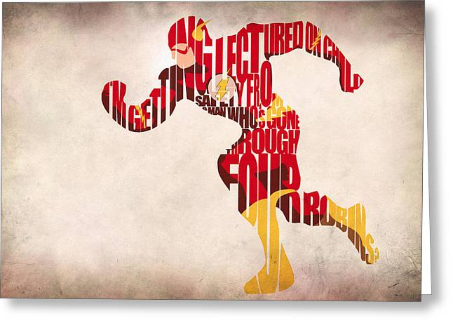 Typography Print Greeting Cards - The Flash Greeting Card by Ayse Deniz