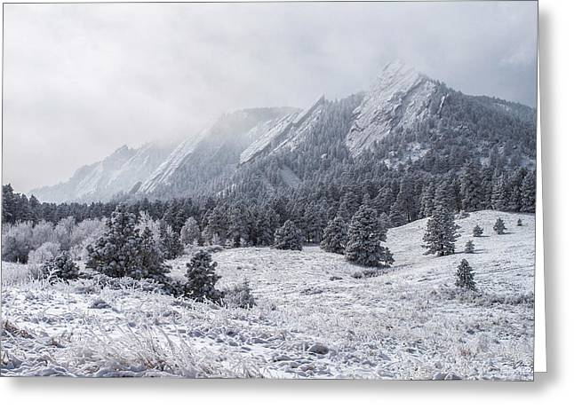 Longmont Greeting Cards - The Flatirons - Winter Greeting Card by Aaron Spong