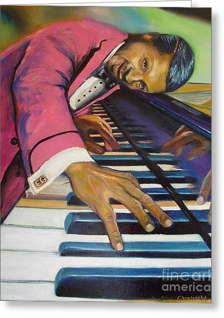 Donna Chaasadah Greeting Cards - The Flavor of Erroll Garner Greeting Card by Donna Chaasadah