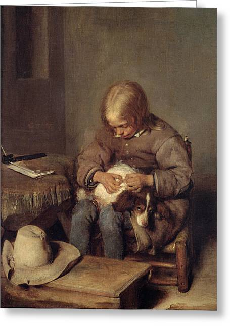 Flea Greeting Cards - The Flea-catcher Boy With His Dog C.1655 Oil On Canvas Greeting Card by Gerard ter Borch or Terborch