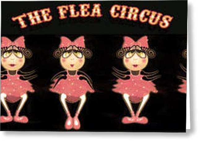 Ballet Dancers Greeting Cards - The Flea Circus - The Ballerinas Pannel black Greeting Card by Andrea Ribeiro