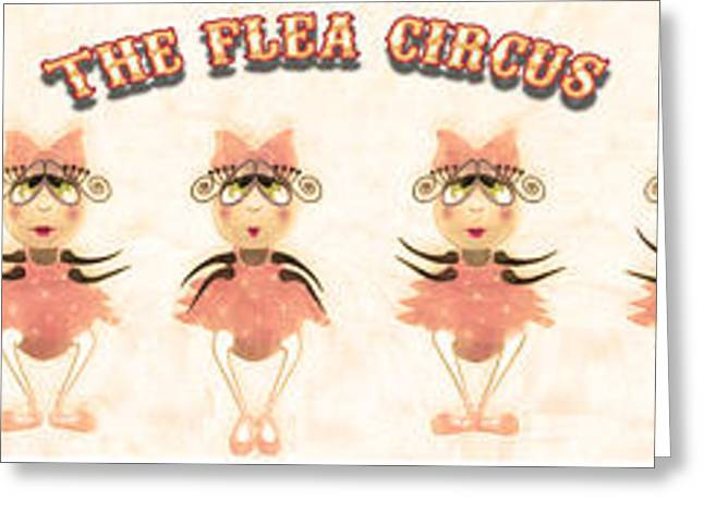 Ballet Dancers Greeting Cards - The Flea Circus - The Ballerinas Pannel white Greeting Card by Andrea Ribeiro