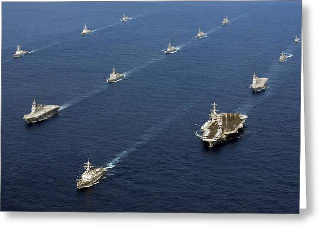 Military Might Greeting Cards - The Fleet at Sea Greeting Card by Mountain Dreams