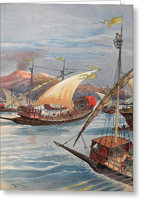 Naples Drawings Greeting Cards - The Fleet Of Doria, Naples Greeting Card by Albert Robida