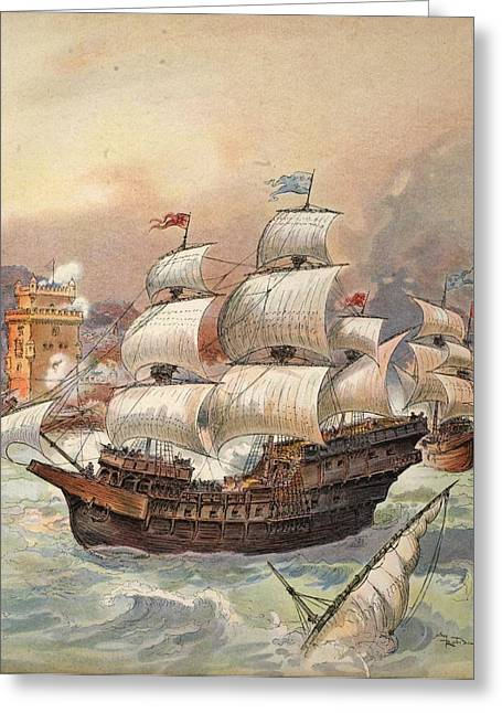 The Fleet Of Jean Ango Blocks The Tagus Greeting Card by Albert Robida