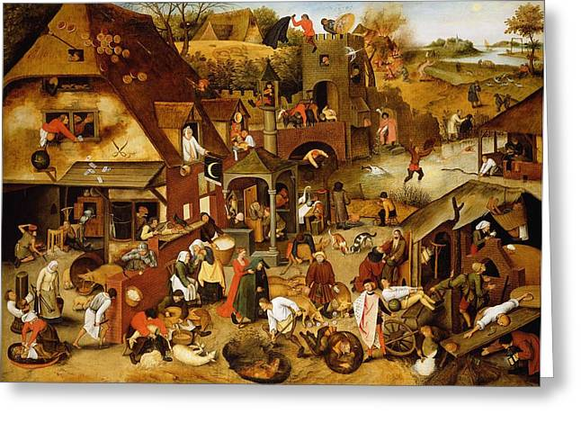 The Flemish Proverbs Oil On Canvas Greeting Card by Pieter the Younger Brueghel