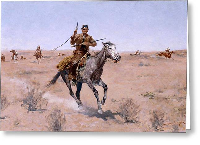 Remington Greeting Cards - The Flight Greeting Card by Frederic Remington