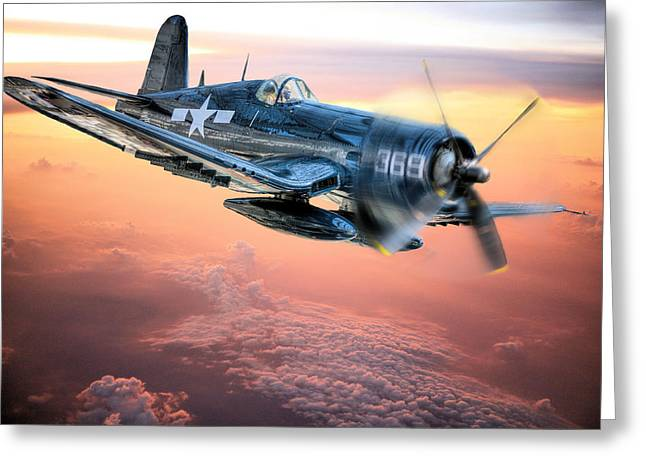 Military Airplanes Photographs Greeting Cards - The Flight Home Greeting Card by JC Findley