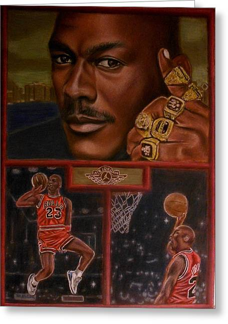 Basketball Pastels Greeting Cards - The Flight Instructor feat Michael Jordan Greeting Card by D Rogale