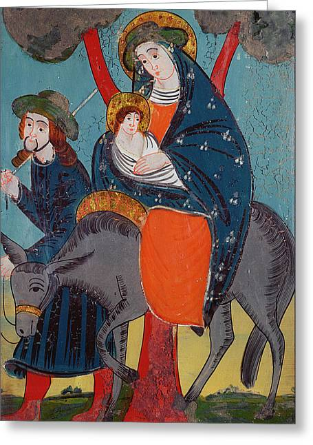 Christ Child Greeting Cards - The Flight Into Egypt Glass Painting Greeting Card by Austrian School