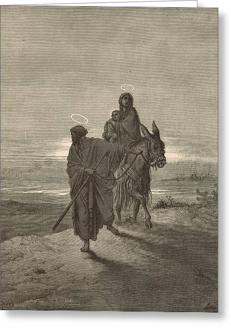 Jesus work Drawings Greeting Cards - The Flight Into Egypt Greeting Card by Antique Engravings