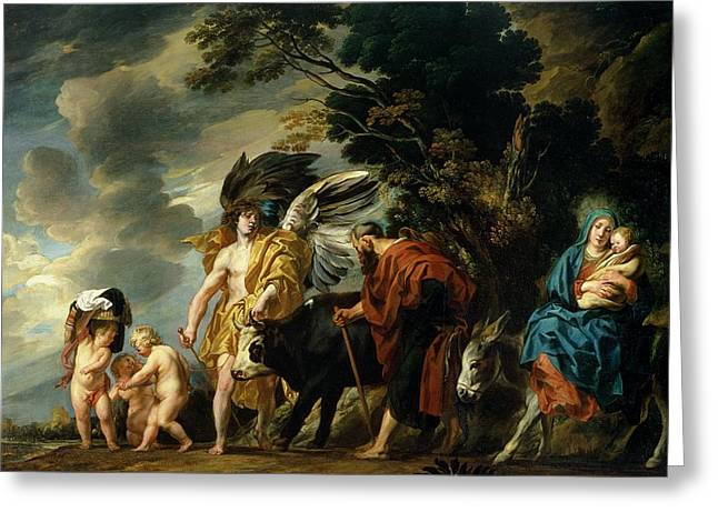 Virgin Mary Photographs Greeting Cards - The Flight Into Egypt Greeting Card by Jacob Jordaens