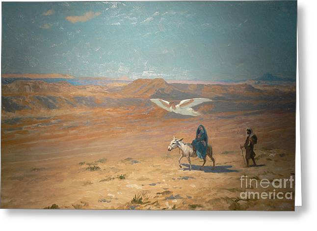 Gerome Greeting Cards - The Flight into Egypt Greeting Card by Jean-Leon Gerome