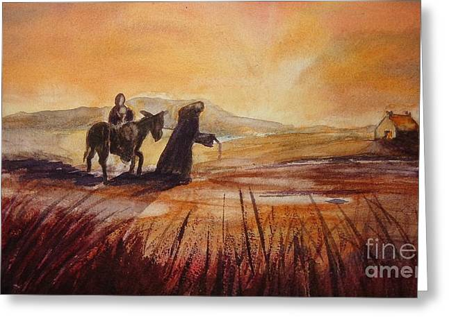 Uprooted Greeting Cards - The Flight into Egypt Greeting Card by Maureen Dowd