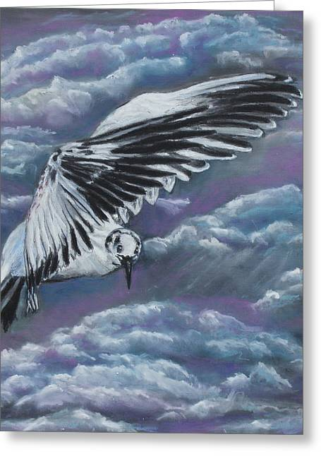 Creature Pastels Greeting Cards - The Flight Greeting Card by Jeanne Fischer