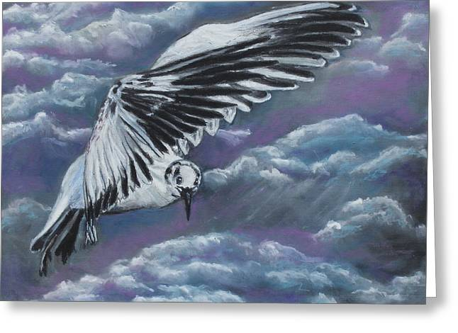 Flying Bird Pastels Greeting Cards - The Flight Greeting Card by Jeanne Fischer