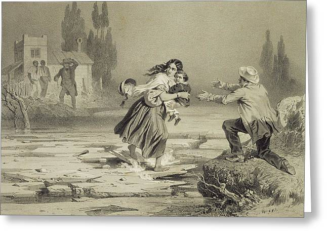 Rivers Ohio Greeting Cards - The Flight Of Eliza, Plate 3 From Uncle Greeting Card by Adolphe Jean-Baptiste Bayot