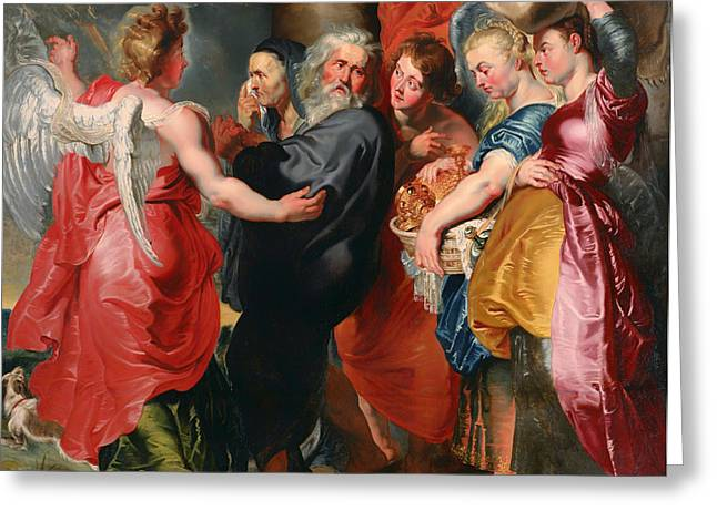 Religious work Paintings Greeting Cards - The Flight of Lot and His Family From Sodom Greeting Card by Jacob Jordaens