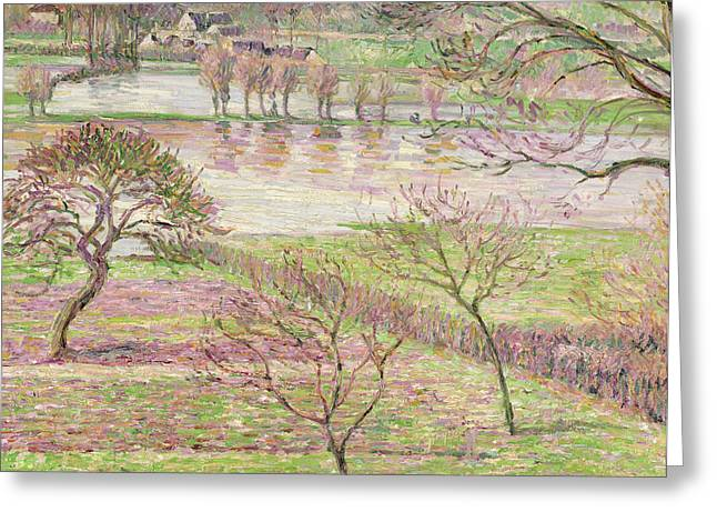 Calm Paintings Greeting Cards - The Flood at Eragny Greeting Card by Camille Pissarro