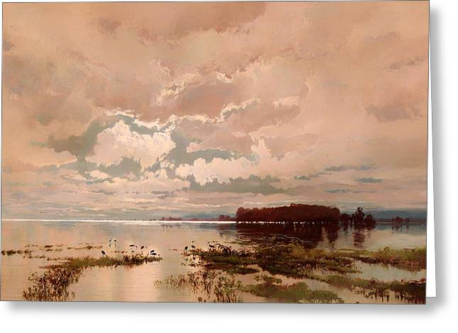 The Flood In The Darling 1890 Greeting Card by Mountain Dreams