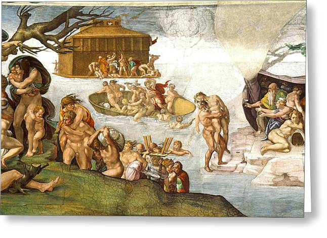 Universal Paintings Greeting Cards - The Flood Greeting Card by Michelangelo di Lodovico Buonarroti Simoni
